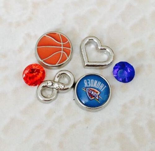 oklahoma city thunder basketball floating charm set