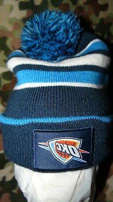 Oklahoma City Thunder beanie Toboggan winter hat stripes BDA