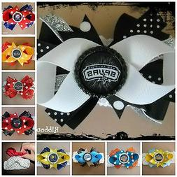 NBA Team Hair Bow With or W/O Headband Baby Toddler *Your Ch