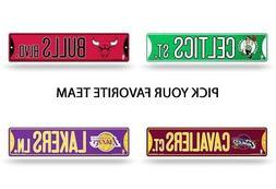 "NBA Teams - Bling Glitter 3.75"" x 16"" Basketball Street Sign"