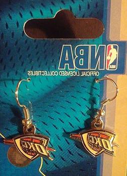 New, Oklahoma City Thunder Logo Earrings by Aminco, Wire, Si