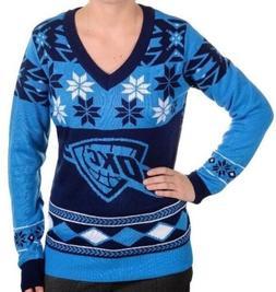 NWT Klew NBA Oklahoma City Thunder Womens V-Neck Sweater Sma
