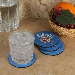 OKC Thunder 4 Pack Round Neoprene Coaster Set Oklahoma City