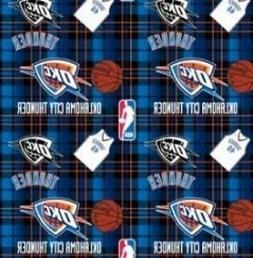 Oklahoma City OKC Thunder Plaid NBA Basketball Fleece Fabric