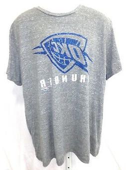 oklahoma city thunder basketball short sleeve gray