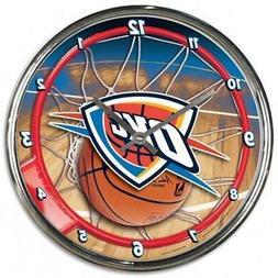 Oklahoma City Thunder Chrome Round Wall Clock  NBA Sign Bann