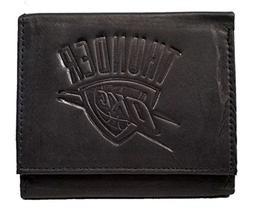 Oklahoma City Thunder NBA Embossed Logo Black Leather Trifol