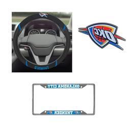 Oklahoma City Thunder Steering Wheel Cover, License Plate Fr