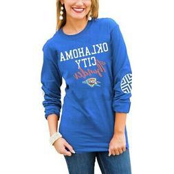 Oklahoma City Thunder Women's Blue Elbow Patch Long Sleeve T